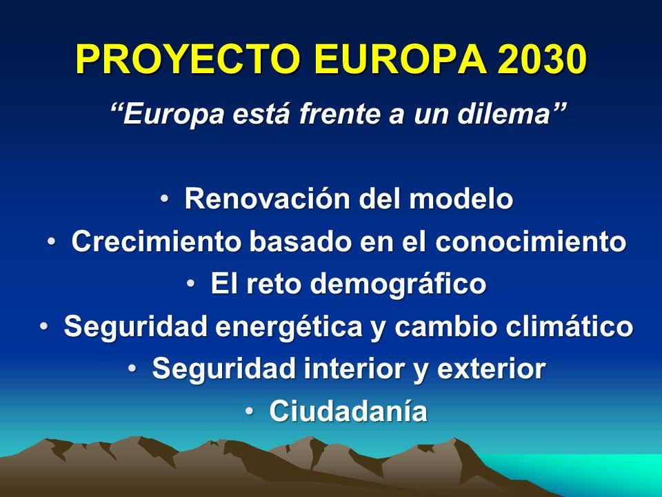 PROYECTO EUROPA 2030 Europa está frente a un dilema