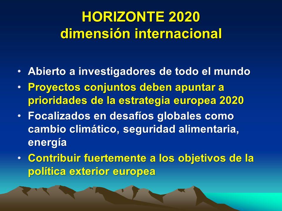 HORIZONTE 2020 dimensión internacional