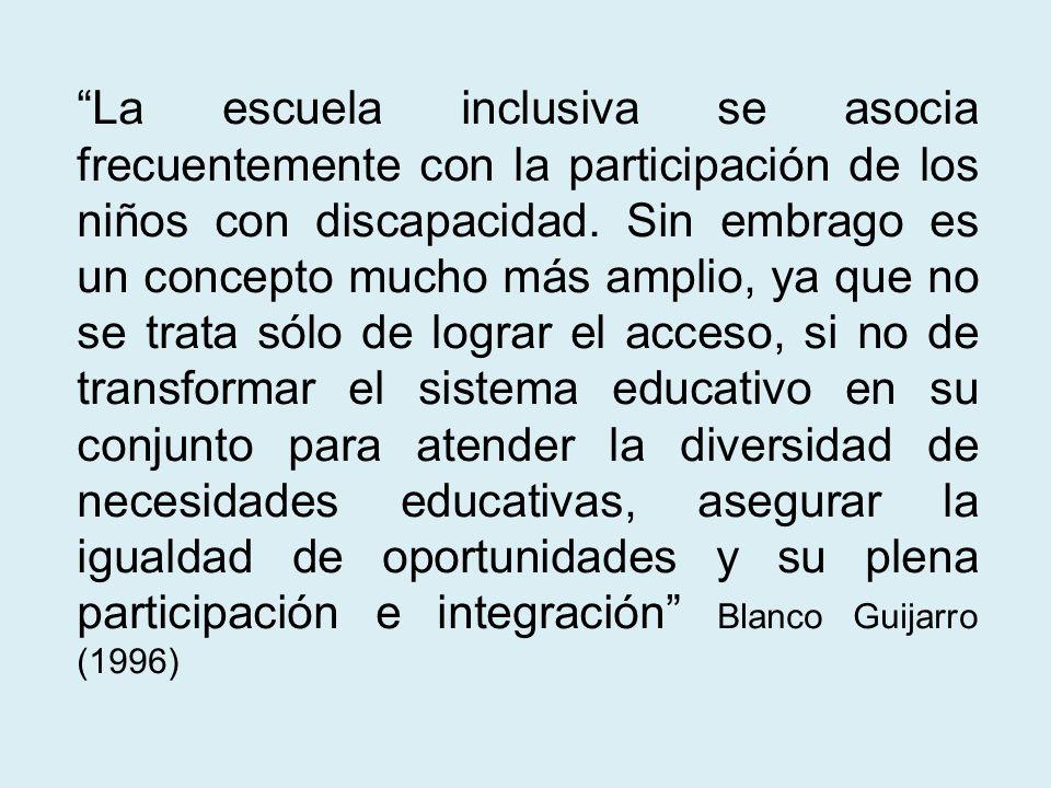 La escuela inclusiva se asocia frecuentemente con la participación de los niños con discapacidad.