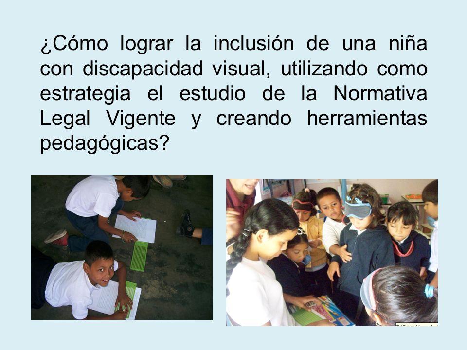 ¿Cómo lograr la inclusión de una niña con discapacidad visual, utilizando como estrategia el estudio de la Normativa Legal Vigente y creando herramientas pedagógicas
