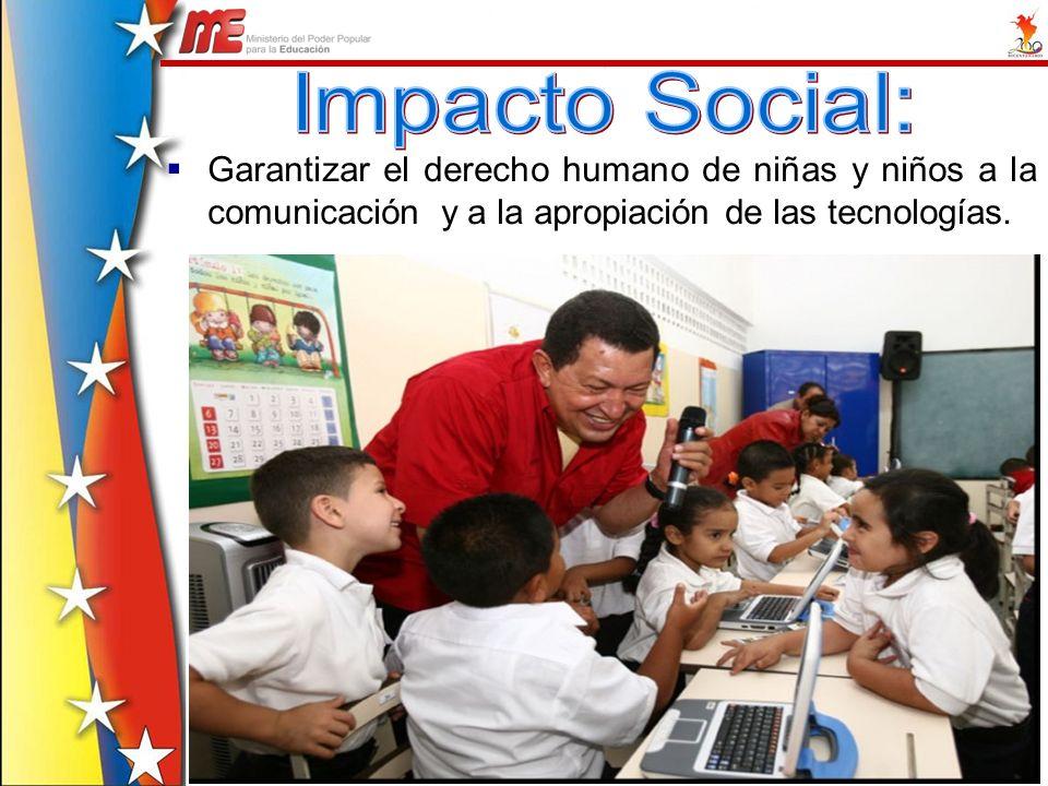Impacto Social:Garantizar el derecho humano de niñas y niños a la comunicación y a la apropiación de las tecnologías.