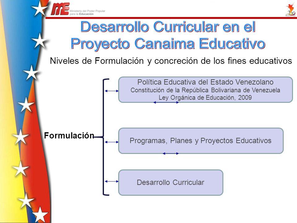 Desarrollo Curricular en el Proyecto Canaima Educativo