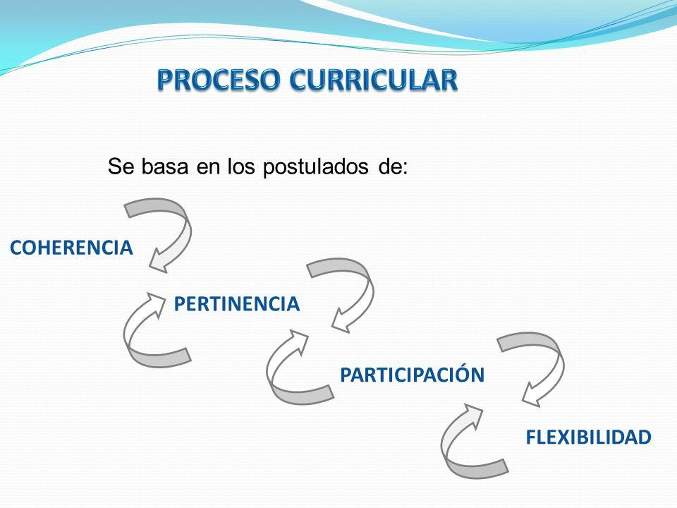 PROCESO CURRICULAR Se basa en los postulados de: COHERENCIA
