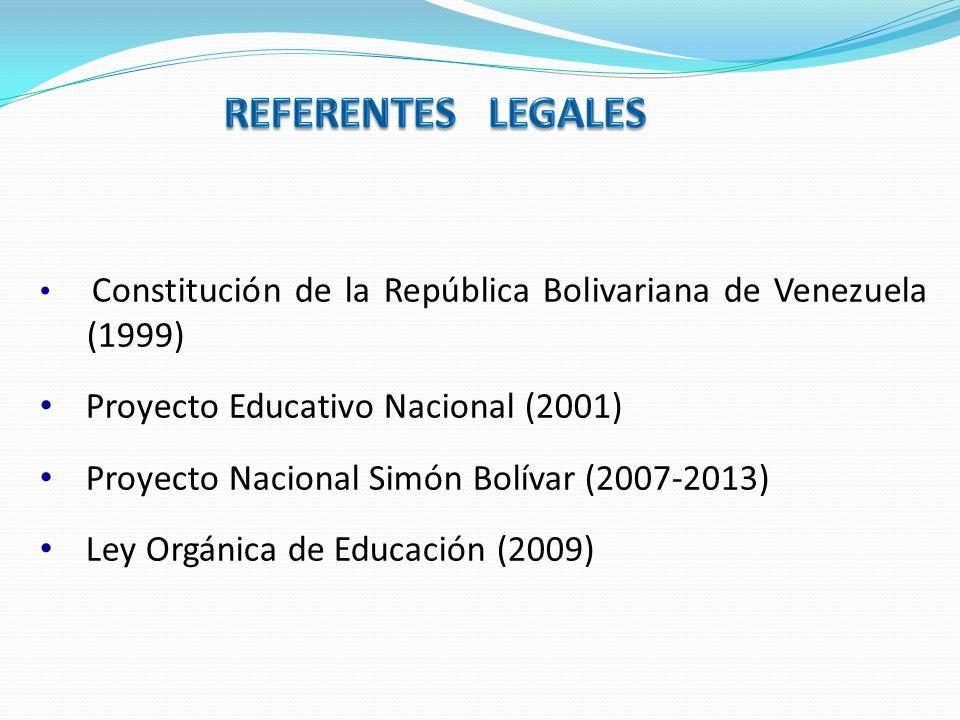 REFERENTES LEGALES Proyecto Educativo Nacional (2001)