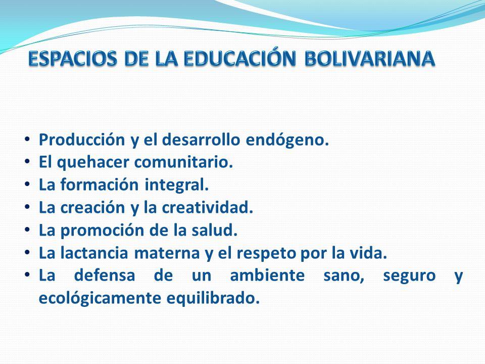 ESPACIOS DE LA EDUCACIÓN BOLIVARIANA