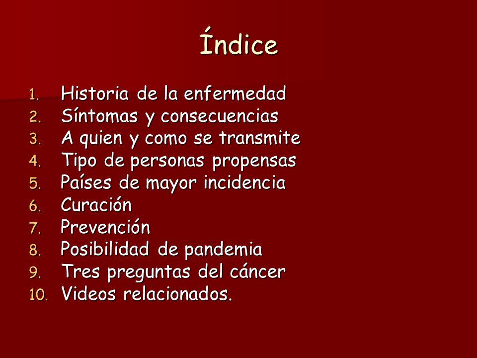 Índice Historia de la enfermedad Síntomas y consecuencias