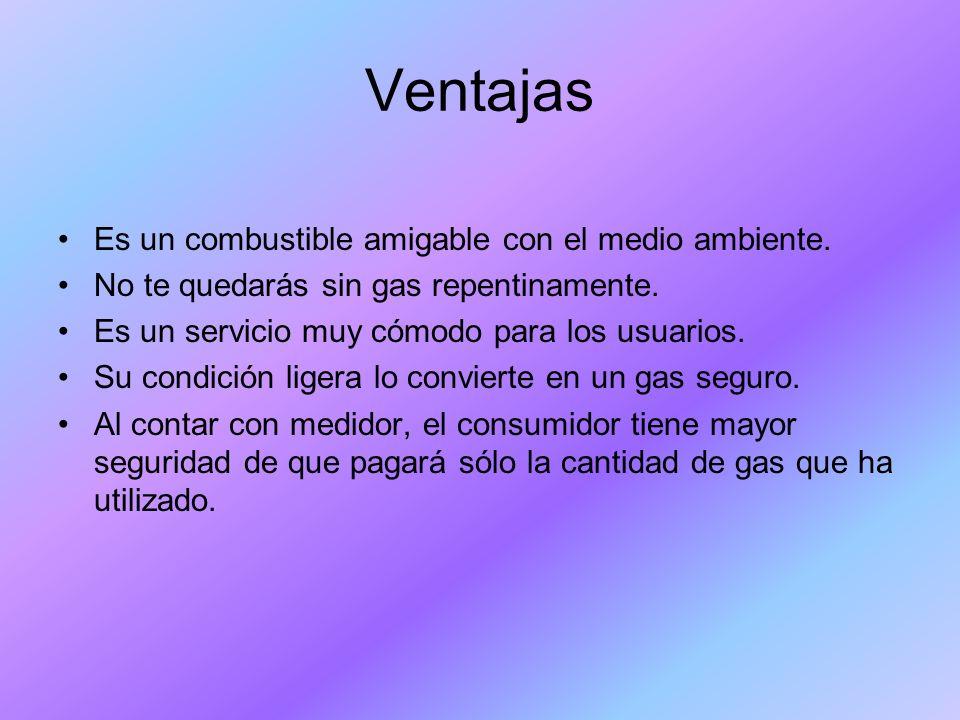 Ventajas Es un combustible amigable con el medio ambiente.