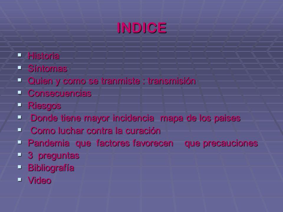 INDICE Historia Síntomas Quien y como se tranmiste : transmisión