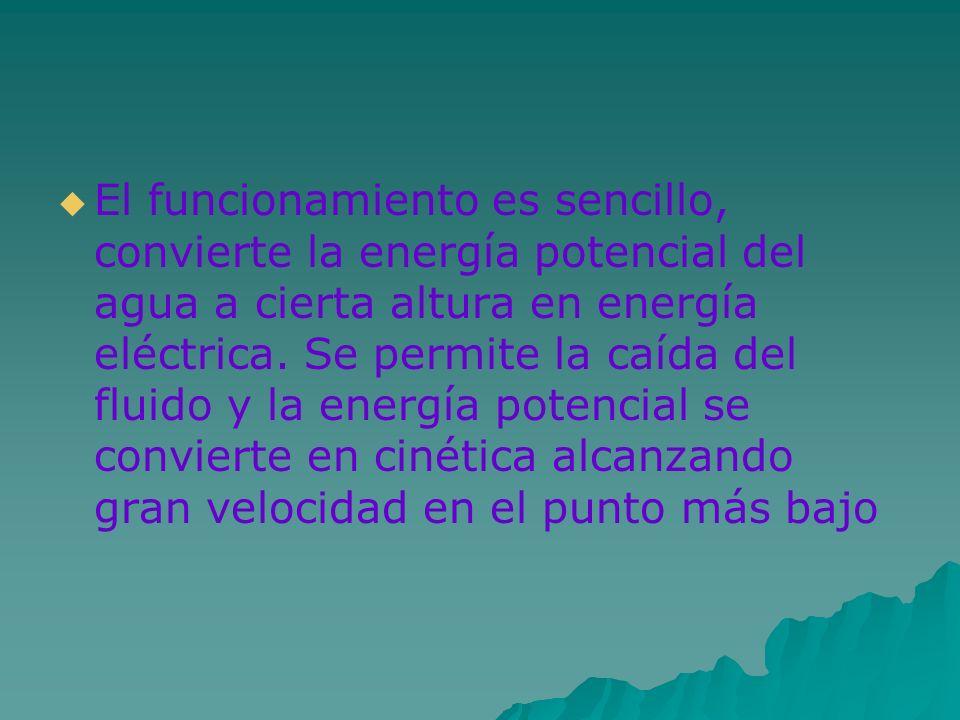 El funcionamiento es sencillo, convierte la energía potencial del agua a cierta altura en energía eléctrica.