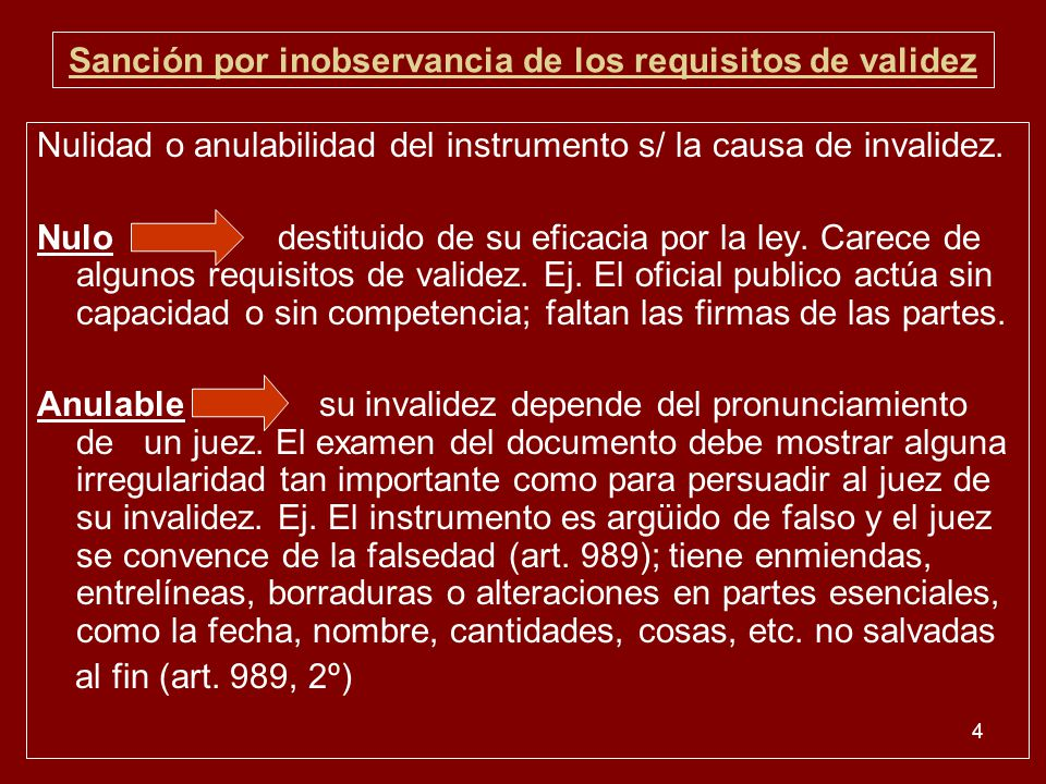Sanción por inobservancia de los requisitos de validez