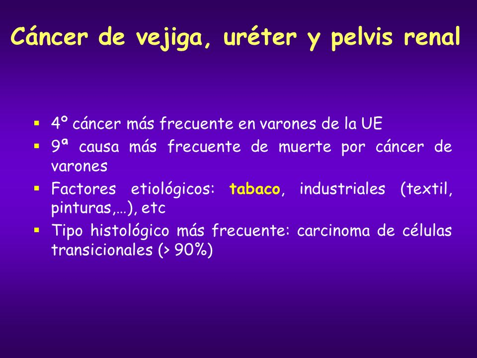 Cáncer de vejiga, uréter y pelvis renal