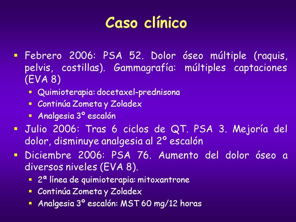 Caso clínico Febrero 2006: PSA 52. Dolor óseo múltiple (raquis, pelvis, costillas). Gammagrafía: múltiples captaciones (EVA 8)