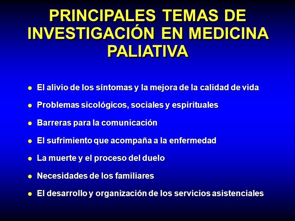 PRINCIPALES TEMAS DE INVESTIGACIÓN EN MEDICINA PALIATIVA