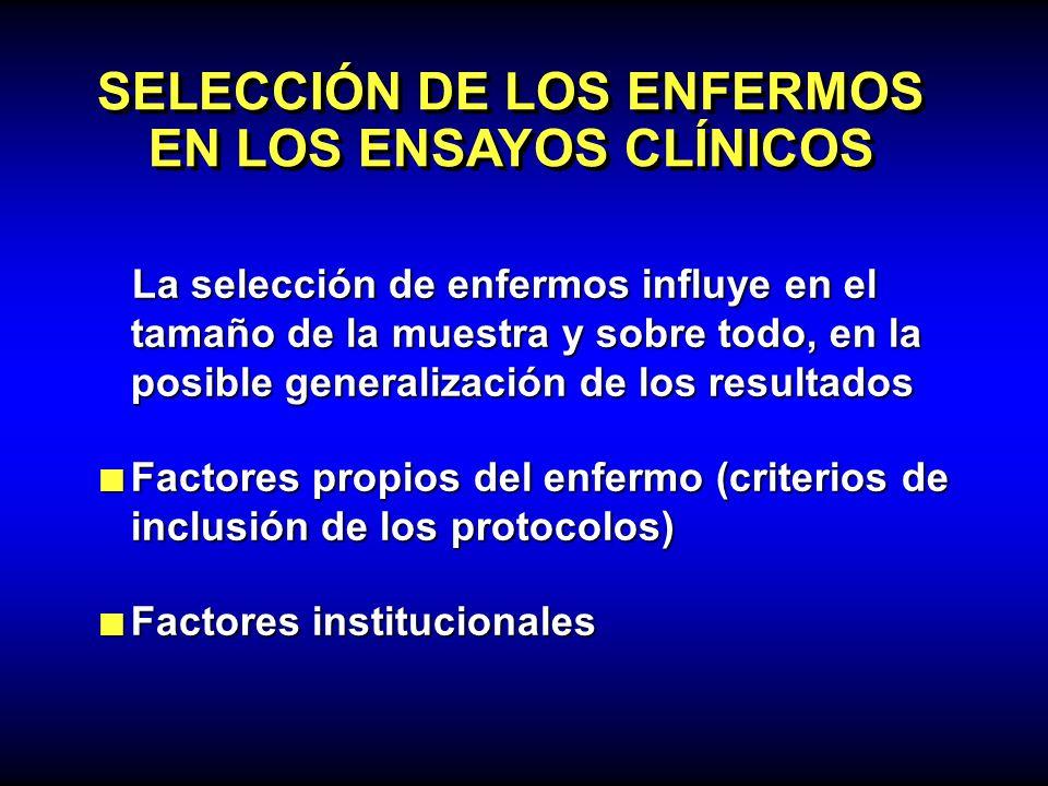SELECCIÓN DE LOS ENFERMOS EN LOS ENSAYOS CLÍNICOS