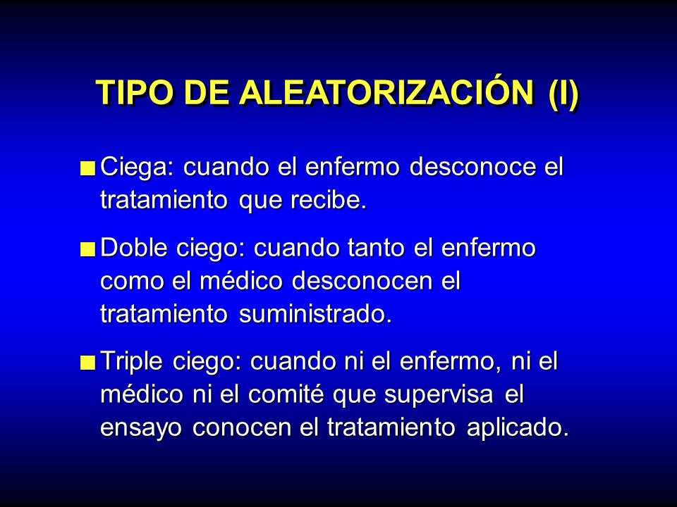 TIPO DE ALEATORIZACIÓN (I)