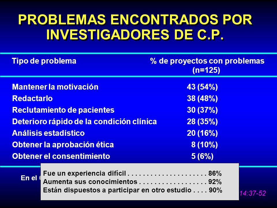 PROBLEMAS ENCONTRADOS POR INVESTIGADORES DE C.P.