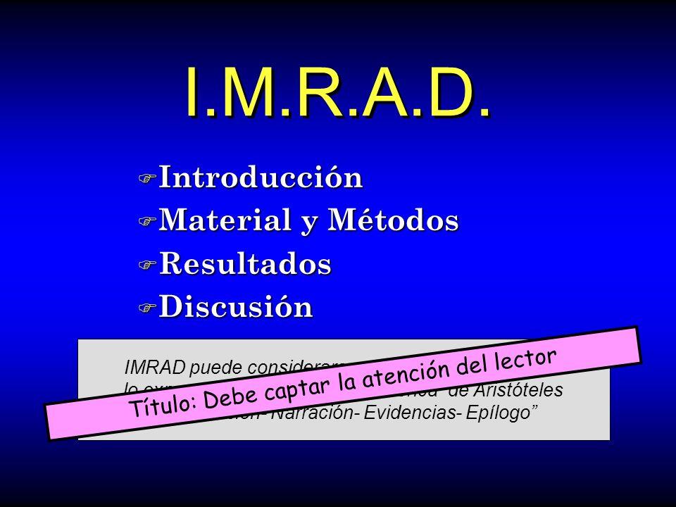 I.M.R.A.D. Introducción Material y Métodos Resultados Discusión