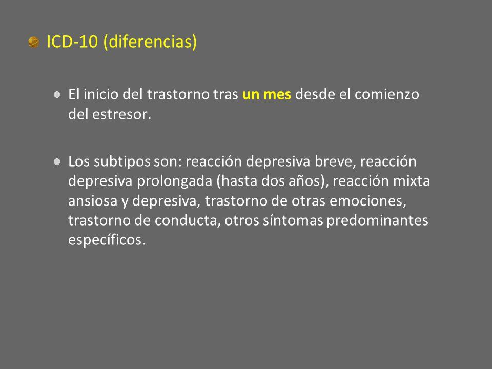 ICD-10 (diferencias) El inicio del trastorno tras un mes desde el comienzo del estresor.