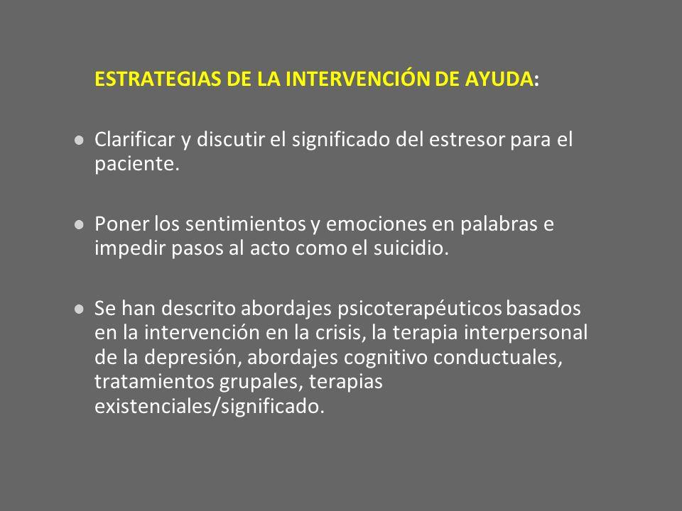 ESTRATEGIAS DE LA INTERVENCIÓN DE AYUDA: