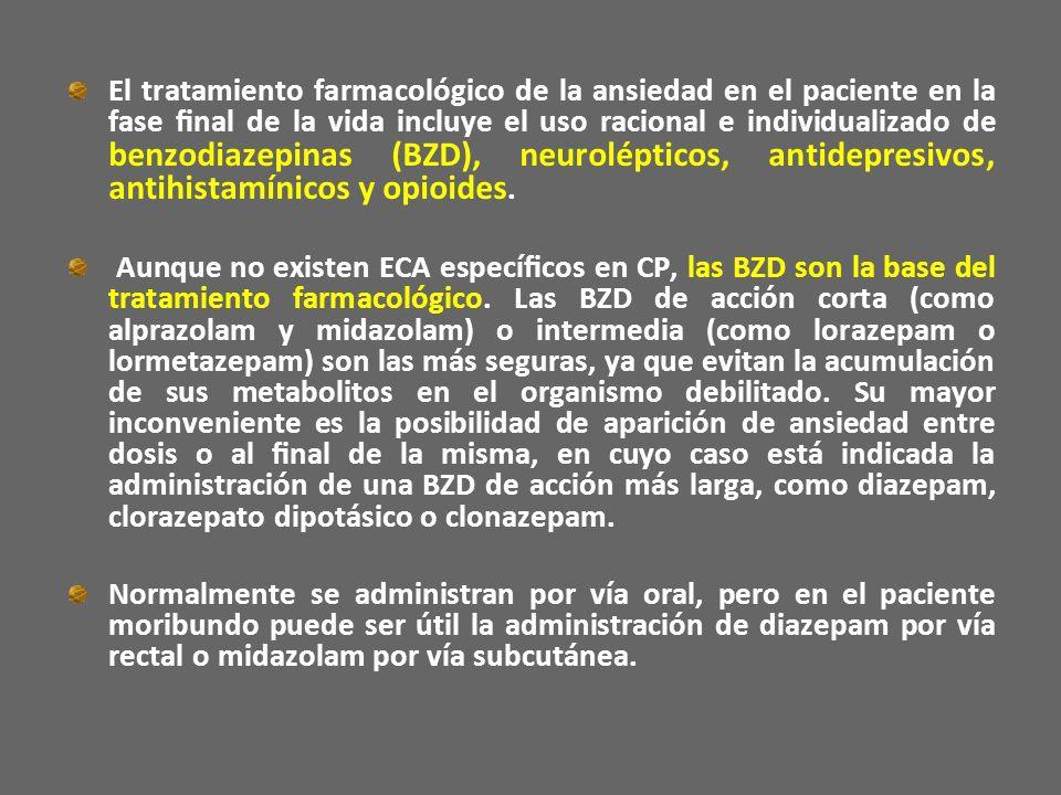 El tratamiento farmacológico de la ansiedad en el paciente en la fase final de la vida incluye el uso racional e individualizado de benzodiazepinas (BZD), neurolépticos, antidepresivos, antihistamínicos y opioides.