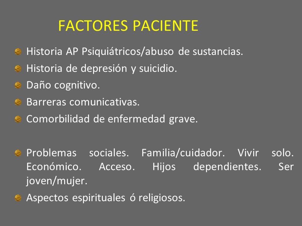 FACTORES PACIENTE Historia AP Psiquiátricos/abuso de sustancias.