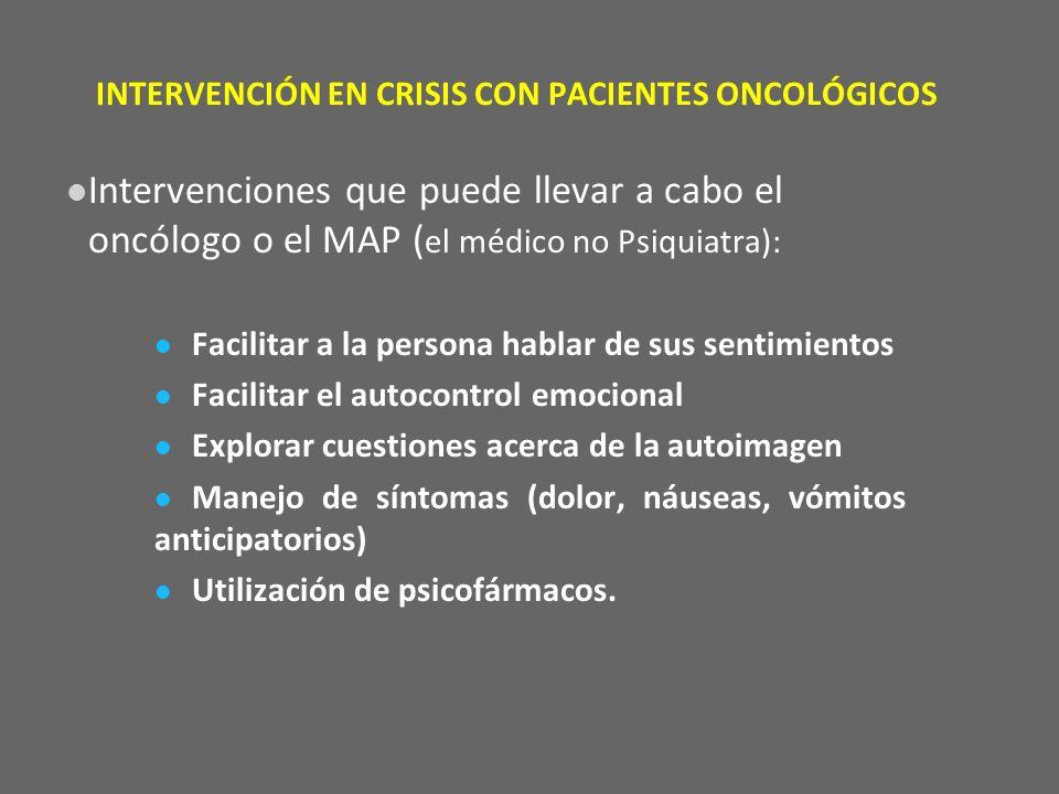 INTERVENCIÓN EN CRISIS CON PACIENTES ONCOLÓGICOS