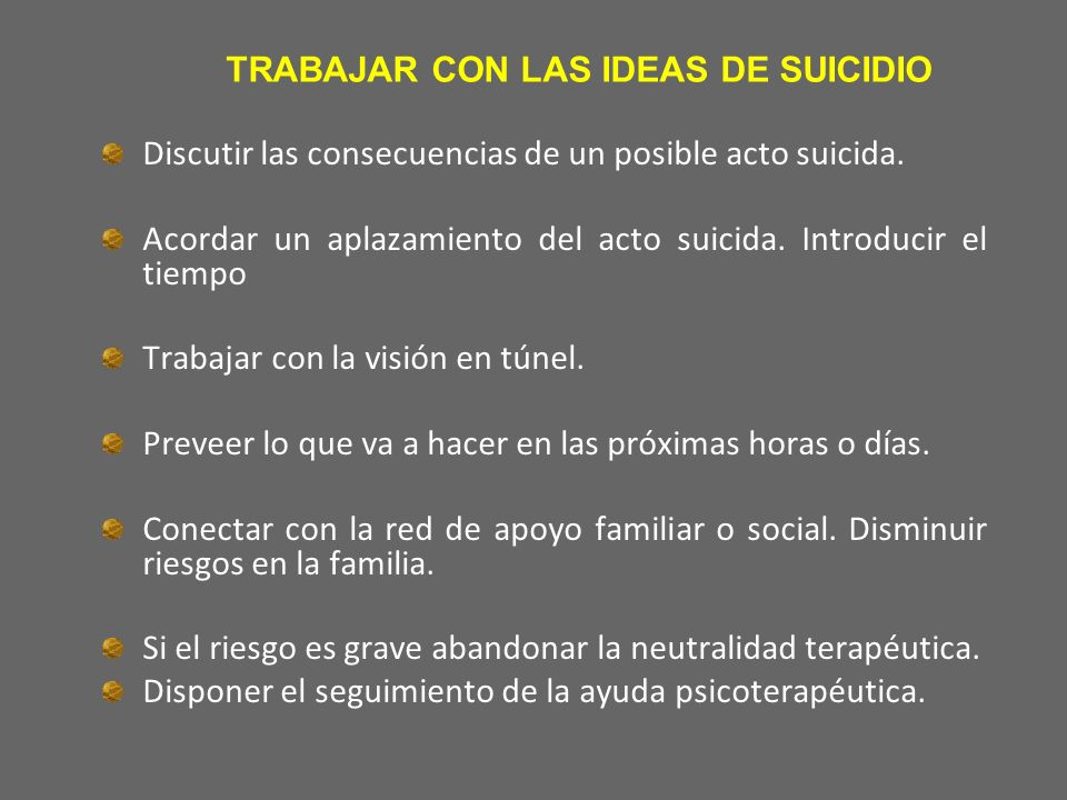 TRABAJAR CON LAS IDEAS DE SUICIDIO