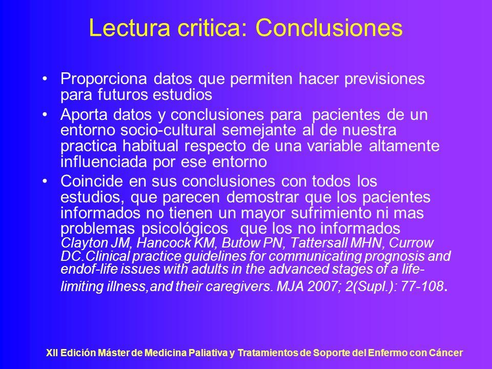 Lectura critica: Conclusiones