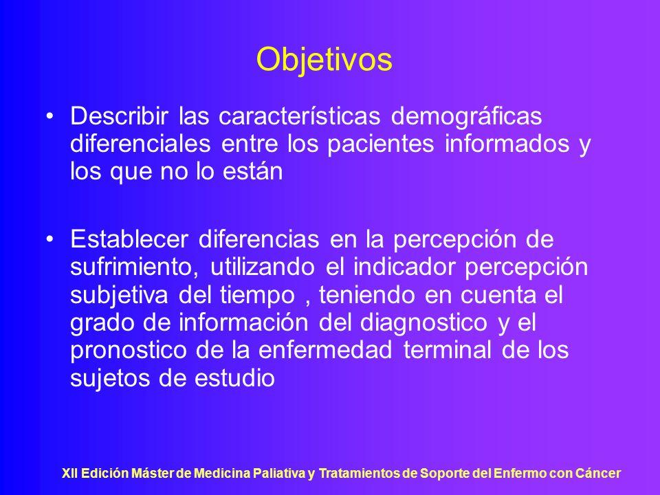 Objetivos Describir las características demográficas diferenciales entre los pacientes informados y los que no lo están.