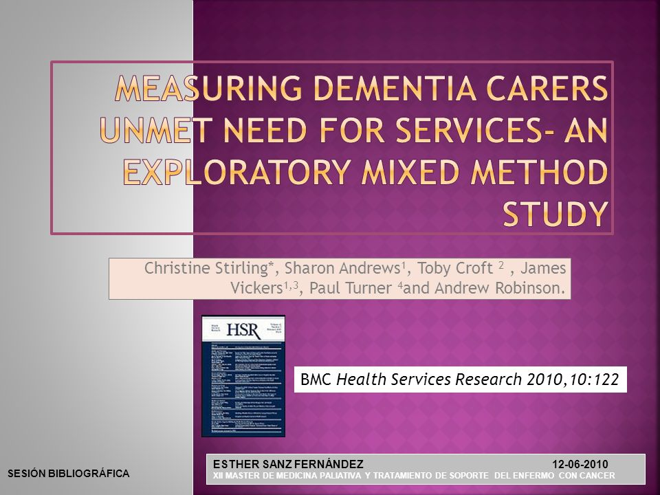 Measuring dementia carers unmet need for services- an exploratory mixed method study