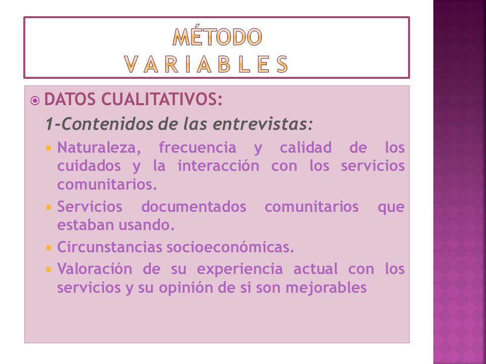 método v a r i a b l e s DATOS CUALITATIVOS: