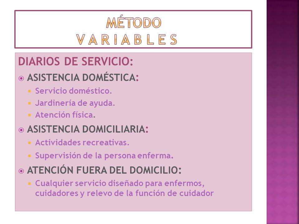 método v a r i a b l e s DIARIOS DE SERVICIO: ASISTENCIA DOMÉSTICA: