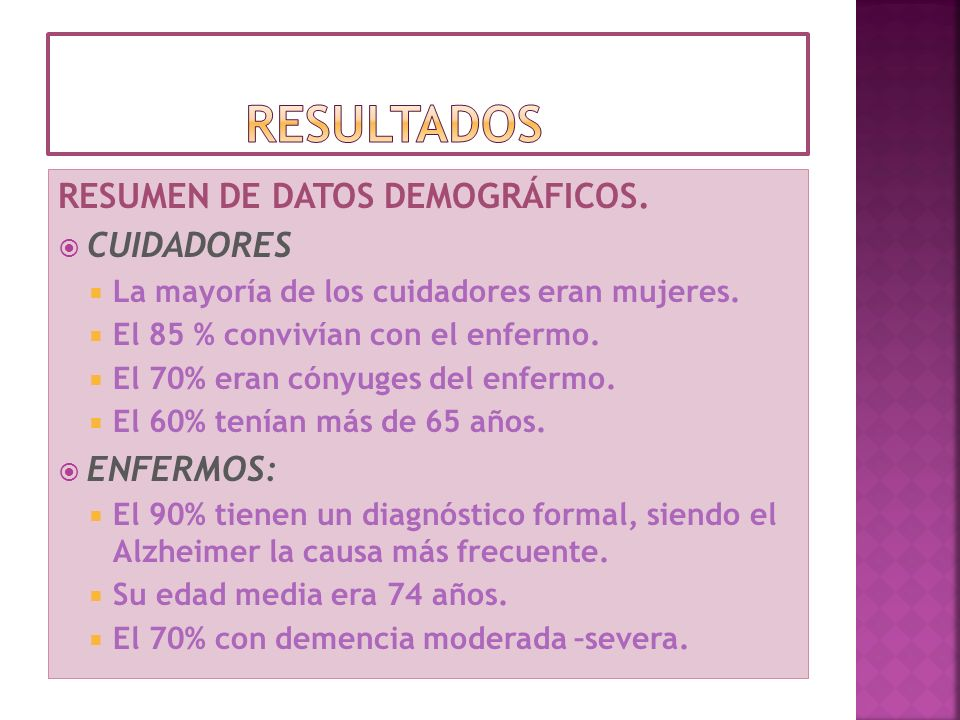 resultados RESUMEN DE DATOS DEMOGRÁFICOS. CUIDADORES ENFERMOS: