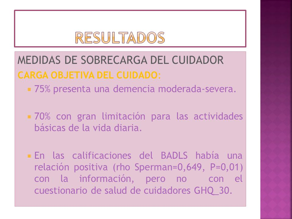 resultados MEDIDAS DE SOBRECARGA DEL CUIDADOR