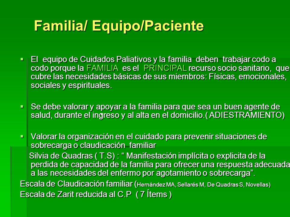 Familia/ Equipo/Paciente
