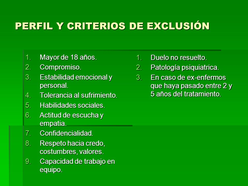 PERFIL Y CRITERIOS DE EXCLUSIÓN