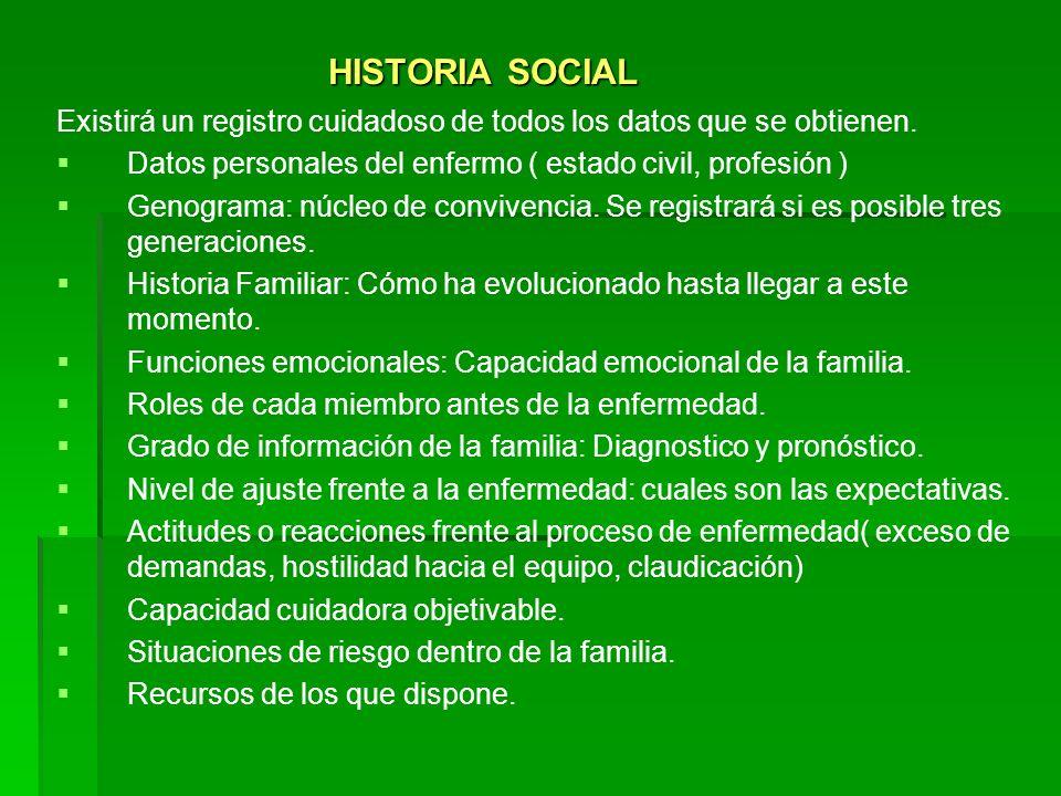 HISTORIA SOCIAL Existirá un registro cuidadoso de todos los datos que se obtienen. Datos personales del enfermo ( estado civil, profesión )