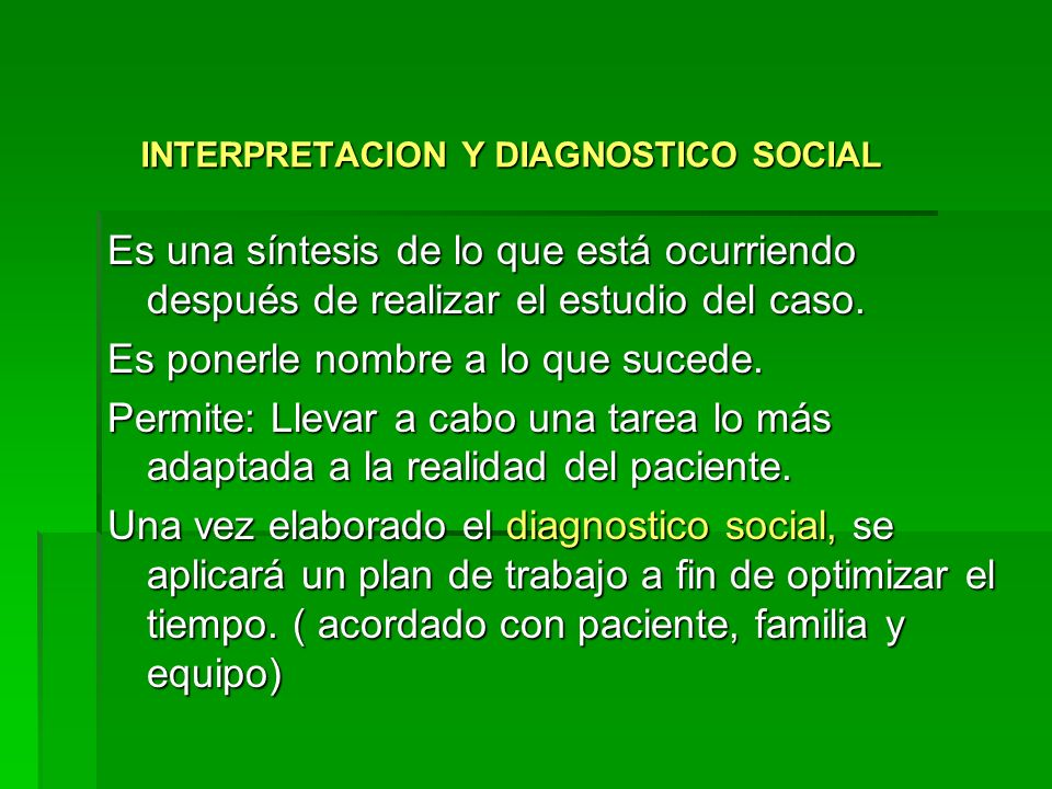 INTERPRETACION Y DIAGNOSTICO SOCIAL