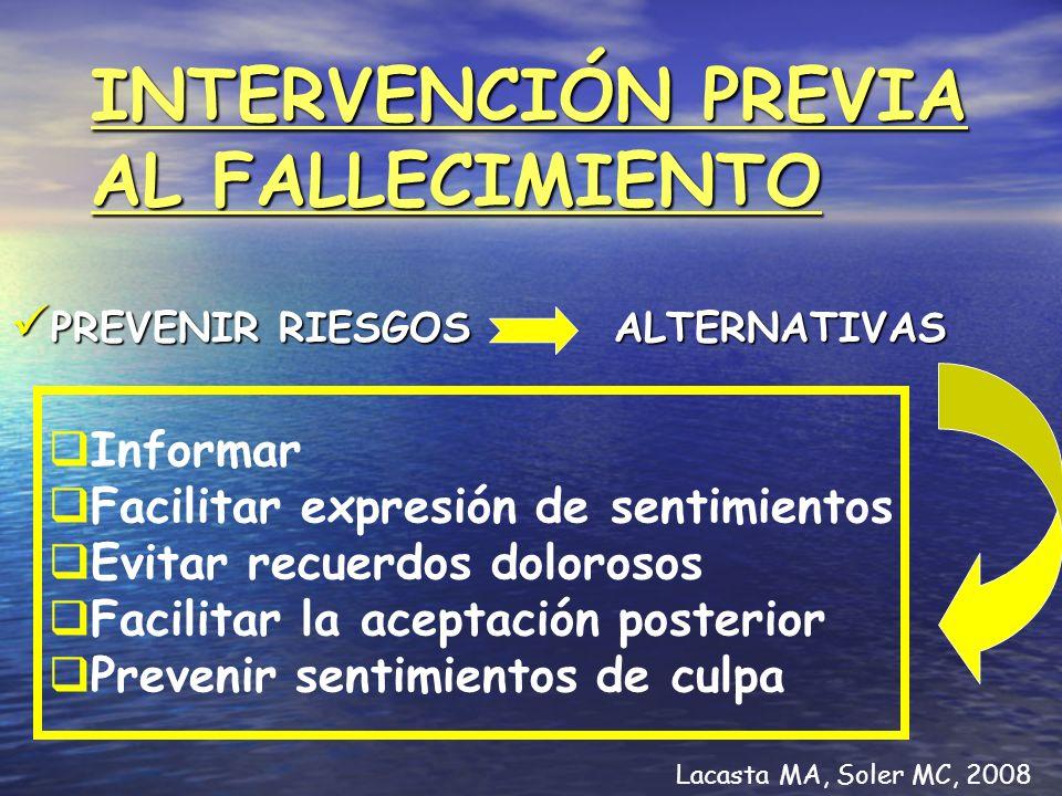 INTERVENCIÓN PREVIA AL FALLECIMIENTO
