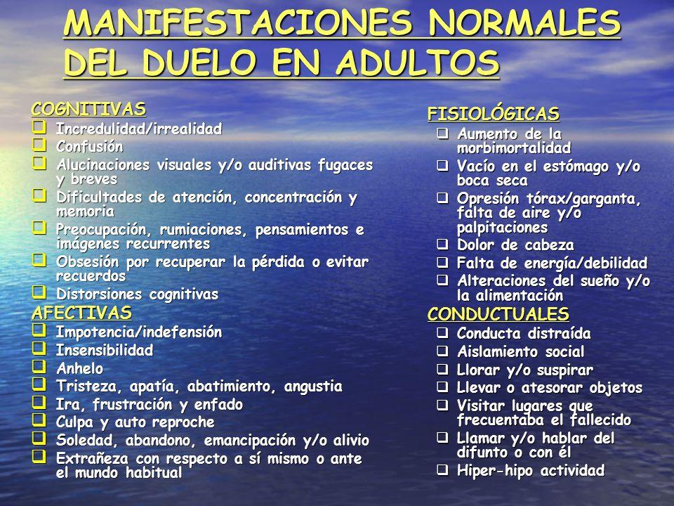 MANIFESTACIONES NORMALES DEL DUELO EN ADULTOS