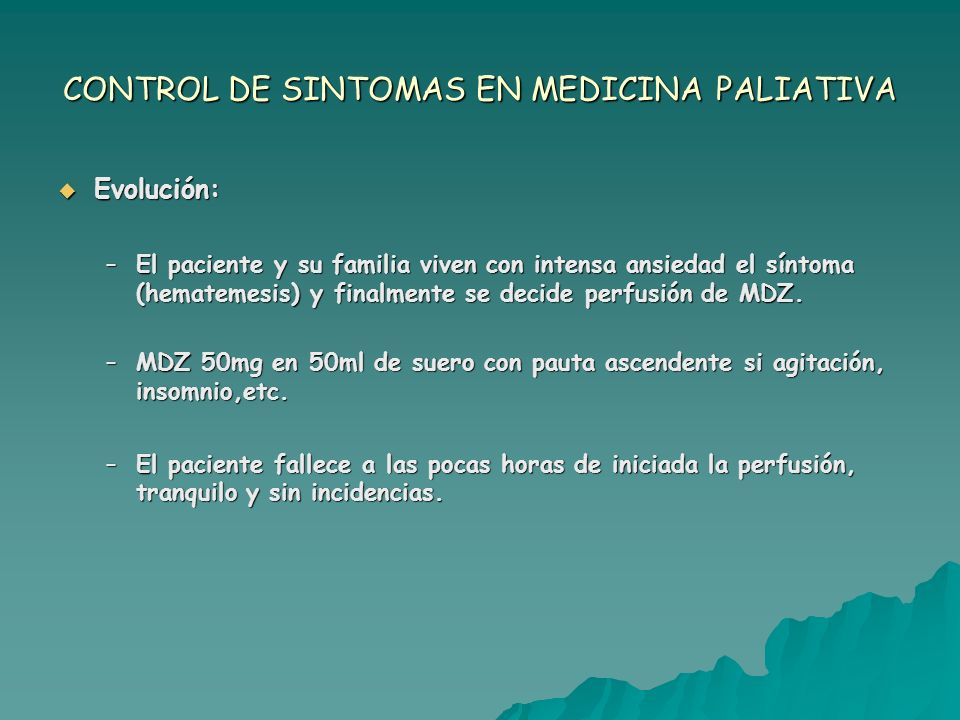 CONTROL DE SINTOMAS EN MEDICINA PALIATIVA