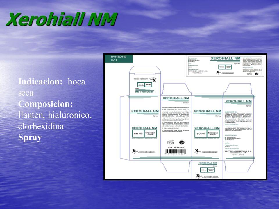 Xerohiall NM Indicacion: boca seca Composicion: