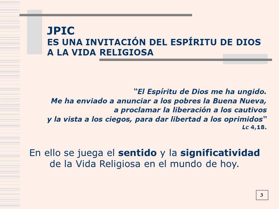 JPICES UNA INVITACIÓN DEL ESPÍRITU DE DIOS. A LA VIDA RELIGIOSA. El Espíritu de Dios me ha ungido.