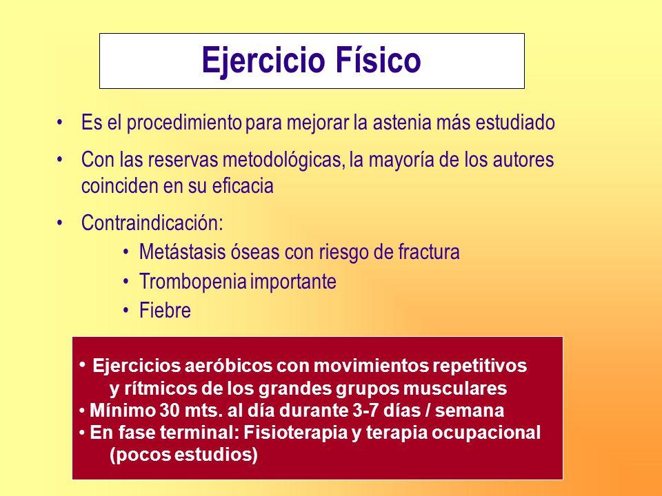 Ejercicio Físico Es el procedimiento para mejorar la astenia más estudiado.