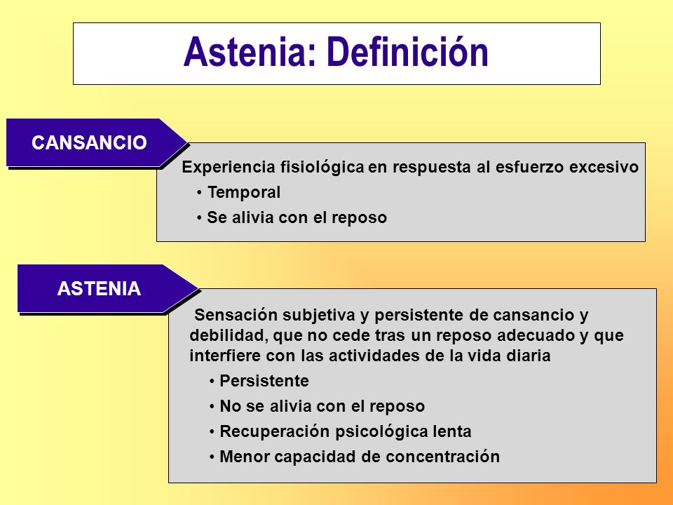 Astenia: Definición CANSANCIO ASTENIA