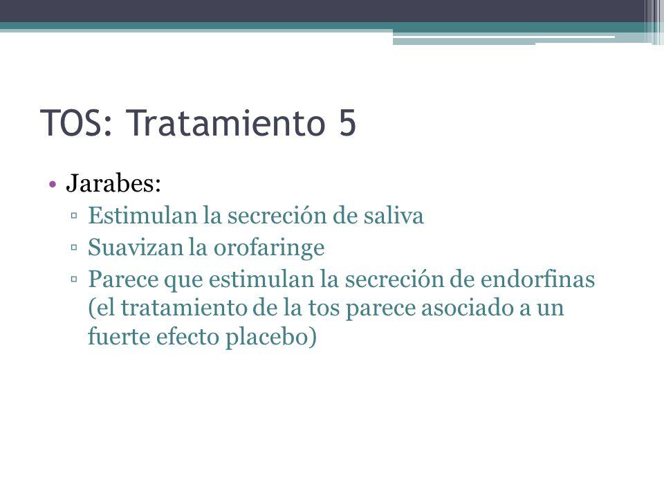 TOS: Tratamiento 5 Jarabes: Estimulan la secreción de saliva