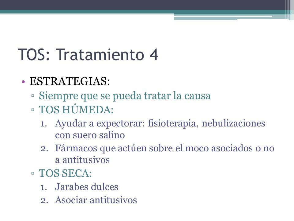 TOS: Tratamiento 4 ESTRATEGIAS: Siempre que se pueda tratar la causa
