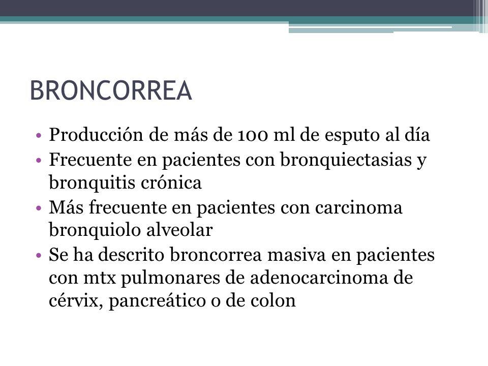 BRONCORREA Producción de más de 100 ml de esputo al día