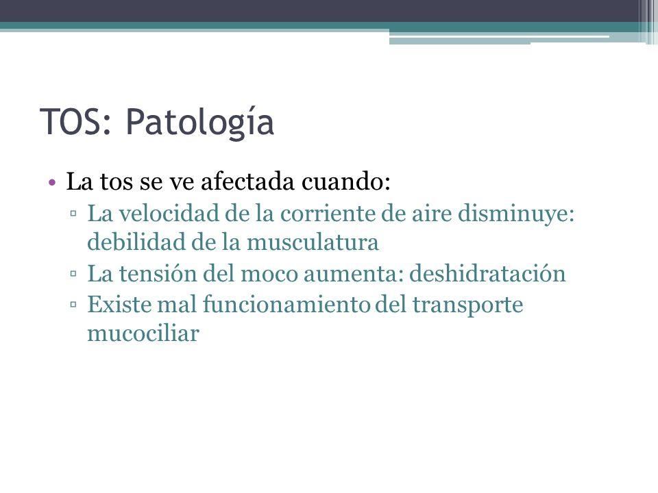 TOS: Patología La tos se ve afectada cuando: