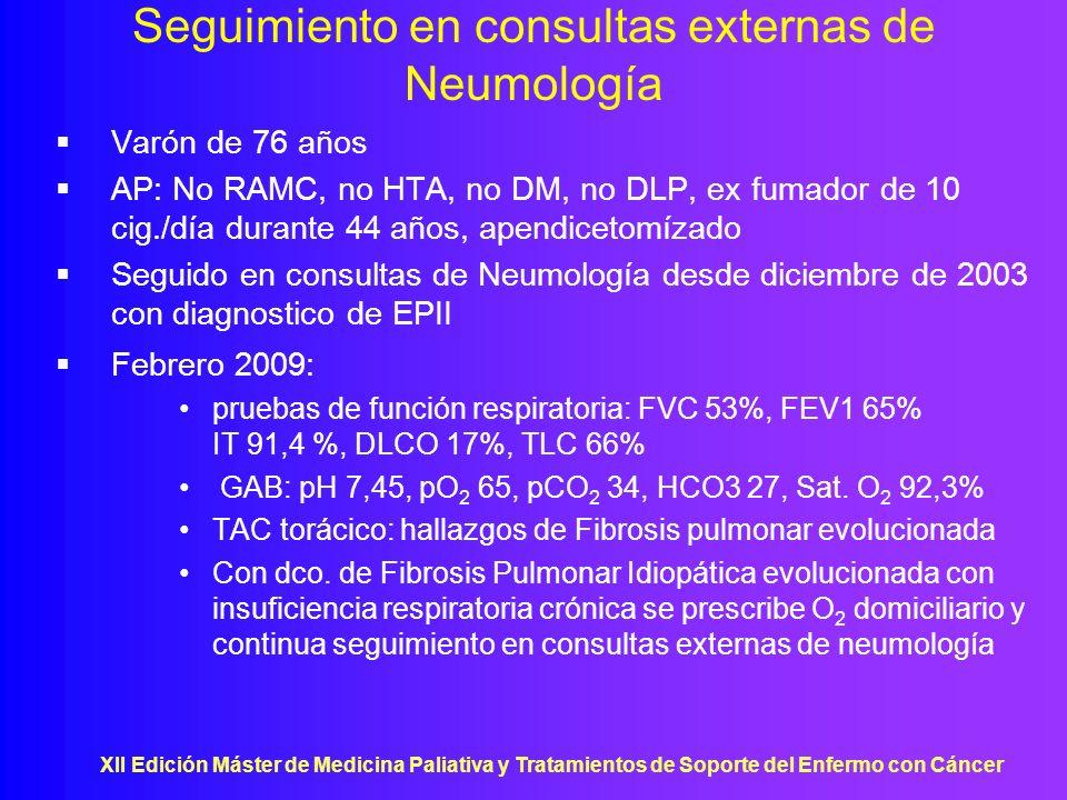 Seguimiento en consultas externas de Neumología